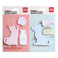 Блоки бумажные самоклеющиеся Deli 6411 микс 76х76мм Cat&Dog
