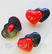 Ґудзик пластиковий, декоративний. Подвійне серце, 10х15 мм