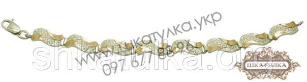 Серебряный браслет с золотом и цирконом