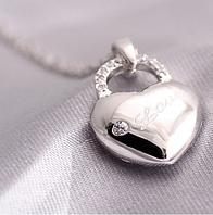 Серебряная подвеска кулон Сердце Love + цепочка