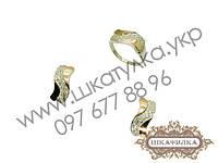 Серебряный гарнитур с золотом и фианитом №48о, фото 1
