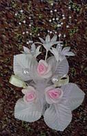 Свадебная бутоньерка (кремово-розовая)