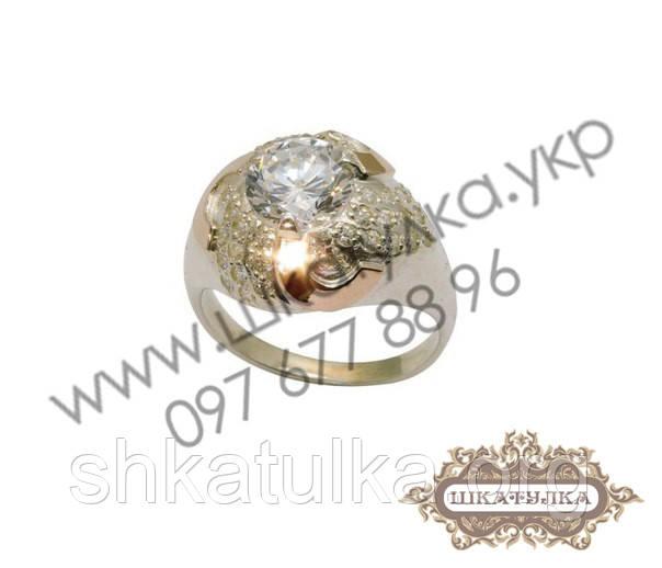 Серебряное кольцо с золотом и цирконом  № 50о