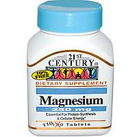 Магний 21st Century Health Care, 250 мг, 110 таблеток. Сделано в США.