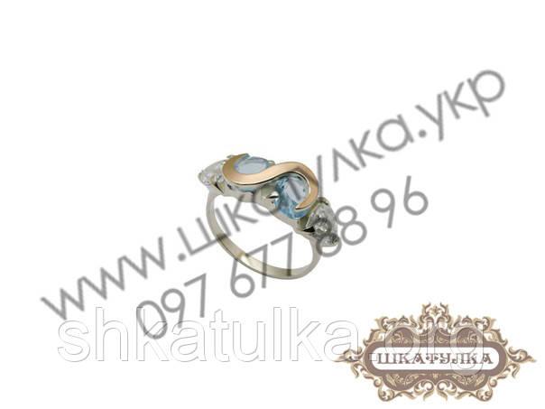 Серебряное кольцо с золотом и цирконом  № 55о