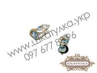 Серебряные серьги с золотом и фианитом №55о