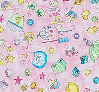 Ткань отрез  BABY STEPS_pink 25х50 cm, фото 1