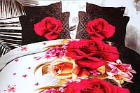 Полуторное постельное белье  Лилия с HD эффектом красные цветы