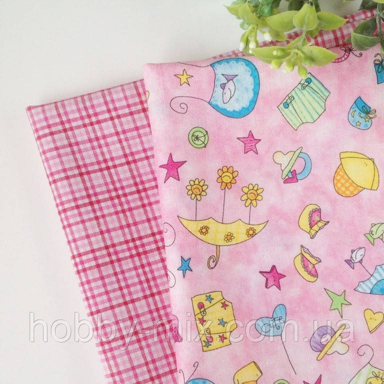 """Ткань 2 отреза  BABY STEPS_pink 25х50 cm - Интернет-магазин """"HobbyMIX"""" в Запорожье"""