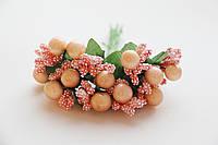 Тычинки сложные периковые с ягодками и листиками 24 шт/уп на проволоке