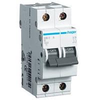 Автоматический выключатель Hager MB206A. Iн=6А, 2п, хар-ка B