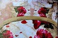 Полуторное постельное белье  Лилия с HD эффектом - на бежевом розы