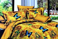 Постельное полуторное белье Лилия с HD эффектом - желтое с бабочками
