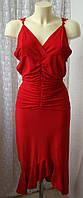 Платье красное стильное модное нарядное стрейч р.42-44 6263