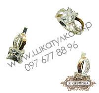 Серебряный гарнитур с золотом и цирконом № 61о
