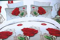 Полуторное постельное белье Лилия с эффектом HD с красными розами