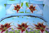 Постельное белье полуторное Лилия с эффектом  HD - на голубом лилии