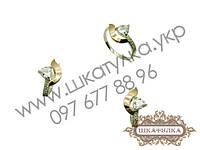 Серебряный гарнитур с золотом и фианитом №63о