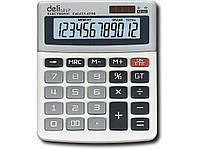 Калькуляторы бухгалтерские Deli 1217Е серый 12 разряд, 134*105*30, пласт корп, пласт кн