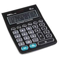"Калькуляторы бухгалтерские Deli 1278 черный 12 разряд, 147х105х34 увелич ""="" прозр пласт кнопки"