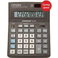 Калькуляторы бухгалтерские Citizen D-314 черный Correct 14 разряд, 155x205x28, пласт корп, пласт кн