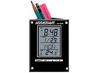 Часы настольные Assistant АН-1054 черный многофункц с подст д/руч 85х45х110