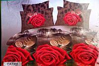 Постельное полуторное  белье Лилия с  HD эффектом - на коричневом красные розы