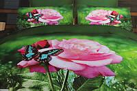 Постельное полуторное  белье Лилия HD с розовыми розами