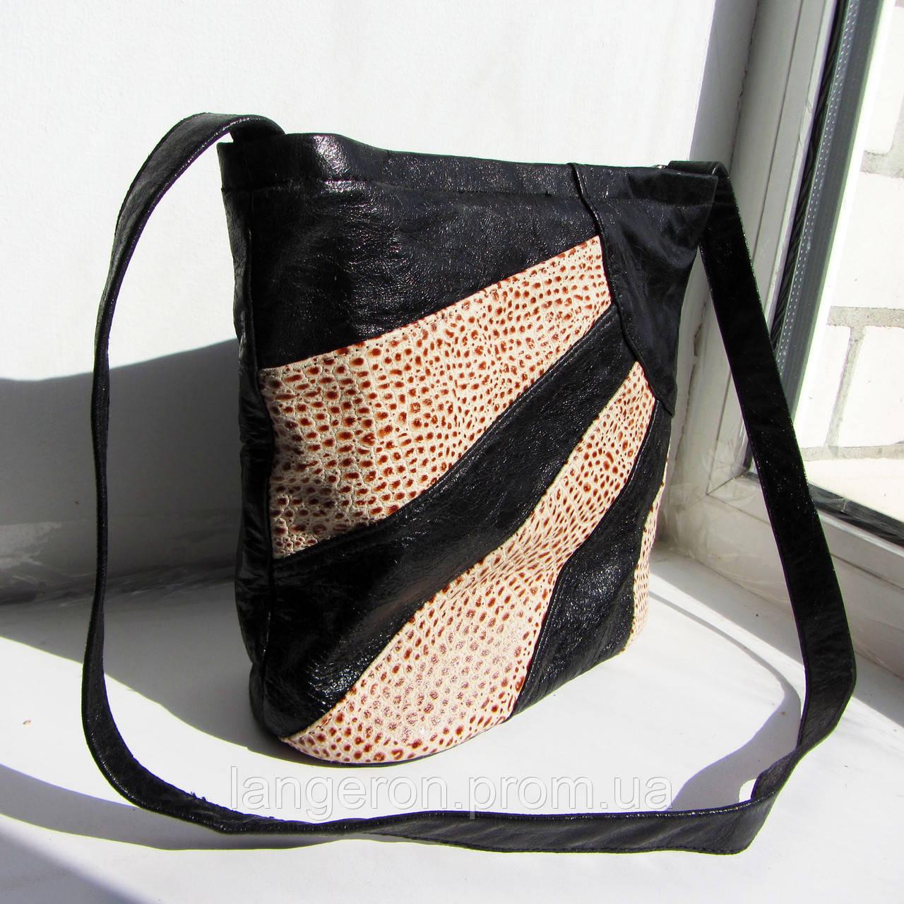 Сумка из натуральной кожи модель №5 с 6 карманами для деловой стильной женщины  - купить со скидкой