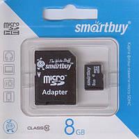 Флеш-карти Smartbuy 36180 micro SDHC  8GB Class 10 (с адаптером SD)