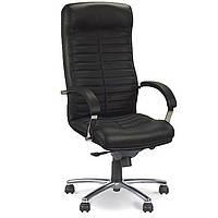 Кресла офисные для руководителей нс LE-А черный Orion Steel Chrome н.кожа Lux 68x54x118-125см, хром+кожа-п