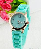 Женские кварцевые часы GENEVA Женева с силиконовым ремешком бирюзовый, женские часы фирмы