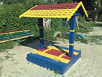 """Песочница """"Грибочек"""" с крышкой и крышей"""
