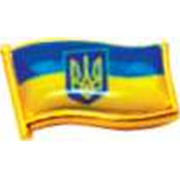 """Значок """"Герб Украины"""" 10.7х15.9 (флажок) чек.+ изобр. под оптич. линзой,  позол."""