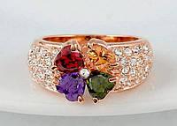 564 - Женская бижутерия кольцо покрытие золото с кристаллами