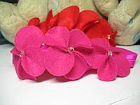 """Детская повязка на голову """"Аленькие цветочки"""" 40-44см"""