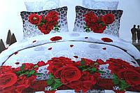 Двуспальное постельное белье Лилия с HD эффектом с красными розами