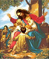 Исус и дети. Схема для вышивки. Заготовка иконы под бисер. Икона