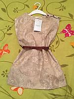 Детское летнее платье бежевого цвета из хлопчатобумажного материала