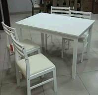 Комплект деревянной мебели Сириус белого цвета. Стол и 4 стула