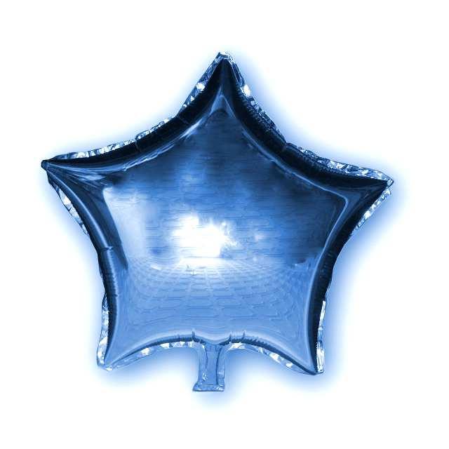 Фольгированный шар Звезда голубая, 45х45см. Воздушные шарики оптом.