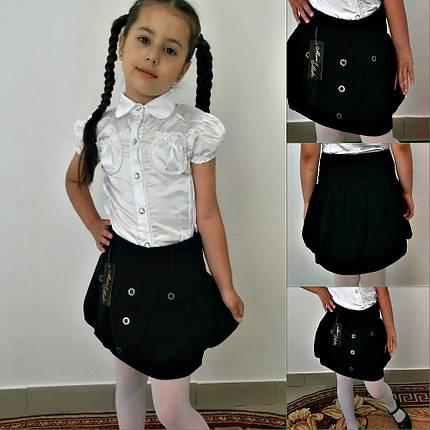 """Детская школьная юбка на резинке """"Анастасия"""" с пуговицами, фото 2"""