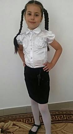 """Школьная атласная летняя блуза для девочки """"Кэти"""" с карманами и коротким рукавом, фото 2"""