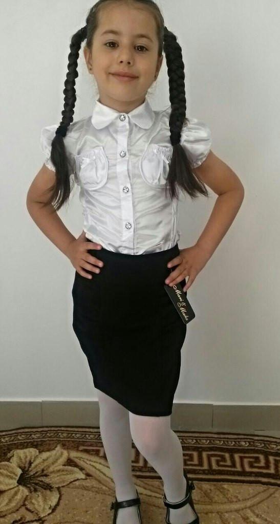 """Школьная атласная летняя блуза для девочки """"Кэти"""" с карманами и коротким рукавом"""