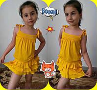 """Детский летний костюм для девочки """"Anniston"""" майка и юбка с рюшами (6 цветов)"""