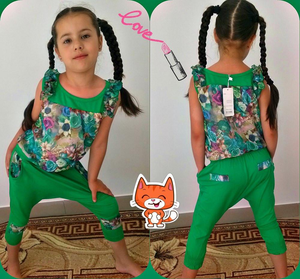 """Летний детский костюм для девчоки """"Аладин"""" майка и бриджи с карманами (2 цвета)"""