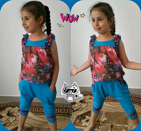 "Летний детский костюм для девчоки ""Аладин"" майка и бриджи с карманами (2 цвета), фото 2"