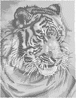 """Схема для вышивки бисером """"Белый тигр"""".(Круговая вышивка)"""