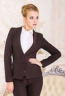 Пиджак Одри коричневый строгий приталенный с шалевым узким воротником