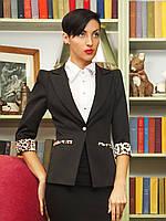 Пиджак черный с леопардовой отделкой приталенный с рукавом три четверти, фото 1
